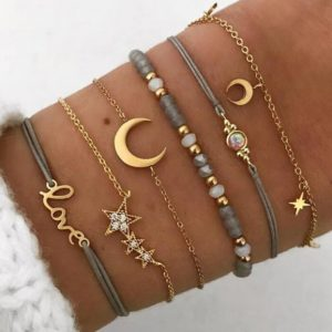 bracelet set, moon, star, jewellery, gold