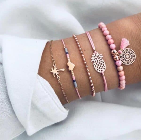 bracelet set, palm tree, pink, beads, heart, ananas