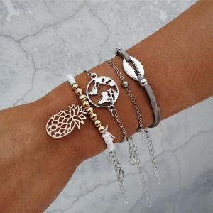 armbanden set, ananas, wereldkaart, schelp, zilver, goud, sieraden