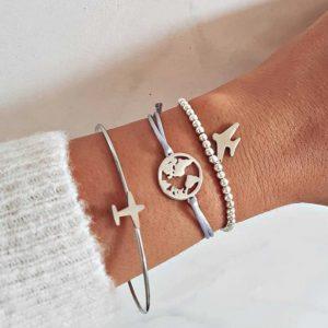 bracelet set, plane, silver, jewellery