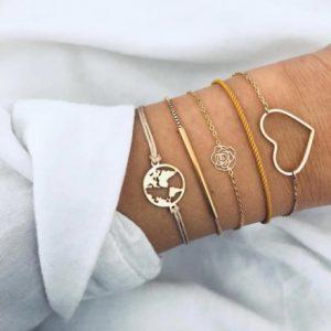 armbanden set, roos, wereldkaart, hartje, goud, sieraden