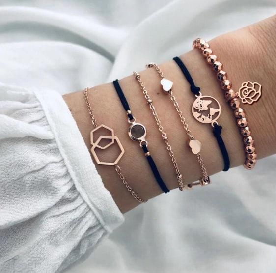 bracelet set, rose gold, worldmap, flower, heart, jewellery women, trendy