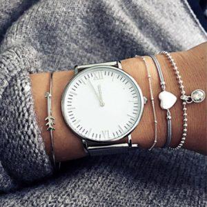 minimalist bracelet set, silver, cuff bracelet,heart