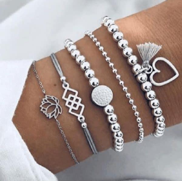 bracelet set, silver, love, heart, tassel, jewellery