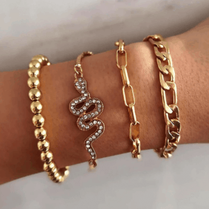 bracelet set, snake, jewellery, chain bracelet , women, gold