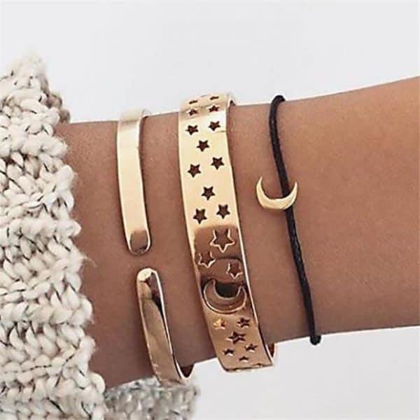 bracelet set, moon, stars, black, gold , jewellery
