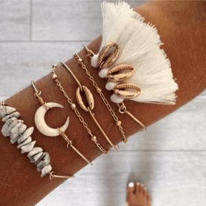 armbanden set, kwast, wit, schelpen, halve maan, kralen