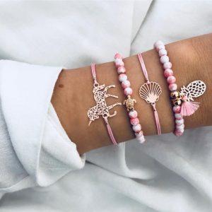 armbanden set, eenhoorn, unicorn, roze, schildpad, ananas,schelp,sieraden