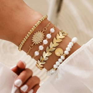 bracelet set, white, beads, jewellery