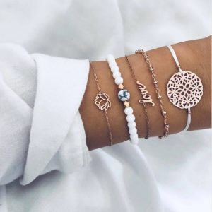 Bracelet set, white, love, lotus, gold, jewellery