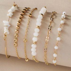 bracelet set, white beads, gold