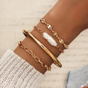 bracelet set, white stone, gold, jewellery