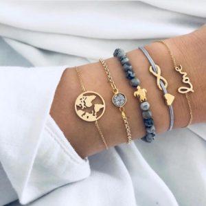 armbanden set, wereldkaart, goud, minimalistisch