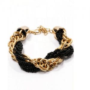chain armband, goud, zwarte kralen