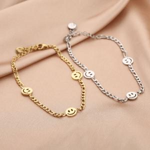 chain, armband, schakelarmband, sieraden, dames accessoires, nikkelvrij, roestvrij staal, smiley