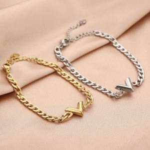 chain armband, v, stainless steel, roestvrij staal, sieraden, dames, accessoires, nikkelvrij