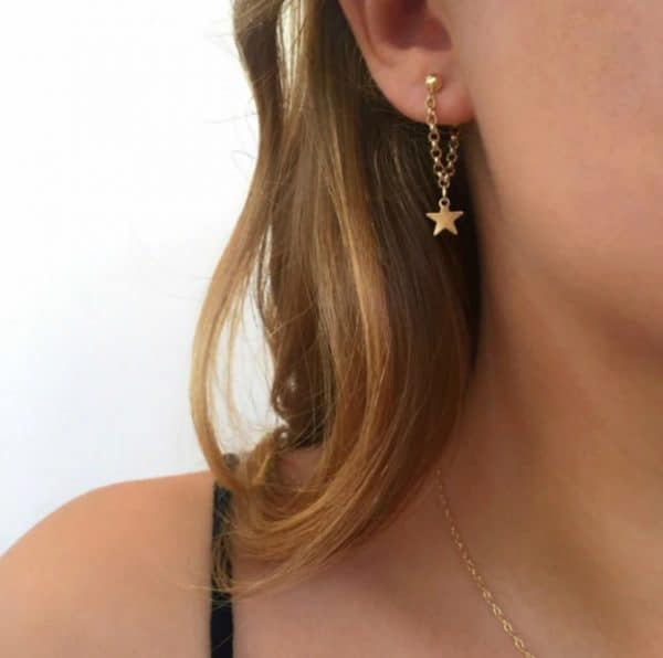 chain earrings, star, gold, silver, jewellery
