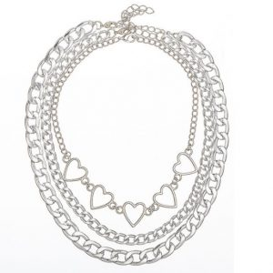 chain ketting, set, hartjes, sieraad, sieraden, jewellery, jewelry, dames, zilver, goud