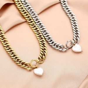 chain ketting, hartje, parel, sieraden, dames, accessoires, stainless steel, roestvrij staal