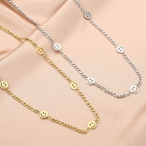 chain ketting, smiley, roestvrij staal, stainless steel, sieraden, dames, accessoires