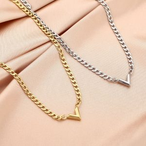 chain ketting, schakelketting, v, sieraden, dames, accessoires, roestvrij staal, stainless steel