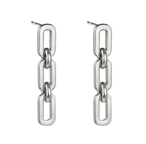chain oorbellen, lang, schakel, stainless steel, roest vrij staal, rvs, nikkel vrij , dames