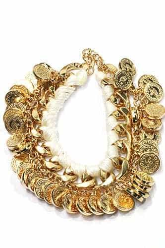 White Bracelet With Coins. Click here for more beautiful bracelets. Shop all musthave jewellery by Aphrodite. Free worldwide shipping and gift.