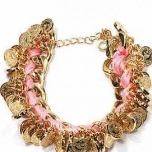 roze gouden schakelarmband, muntjes, sieraden