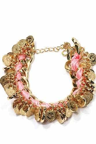 Pink Bracelet With Coins. Click here for more beautiful bracelets. Shop all musthave jewellery by Aphrodite. Free worldwide shipping and gift.