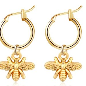 creole earrings, bee, gold