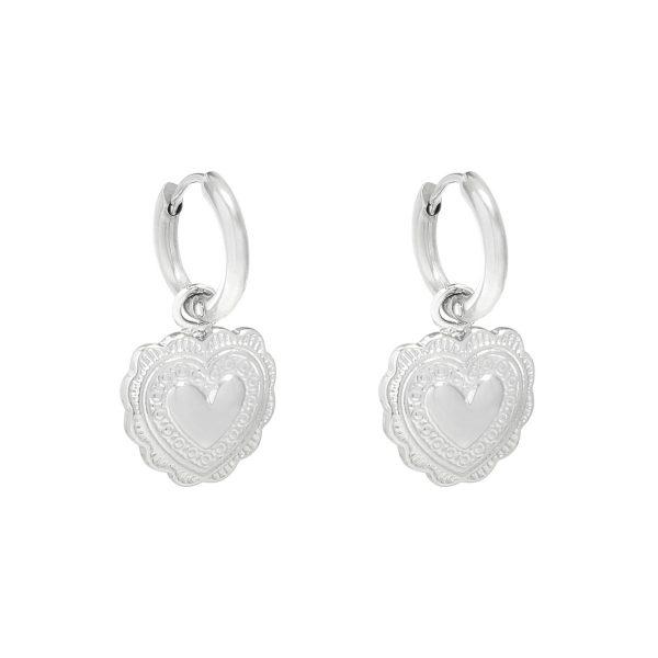 earrings, heart, silver, jewellery , stainless steel