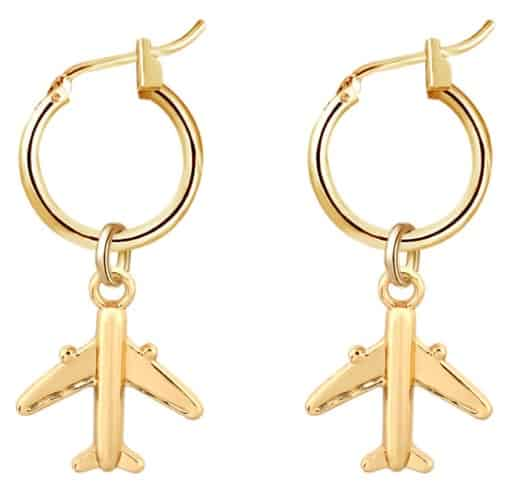 creole earrings, plane, gold