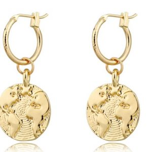 creole earrings, world map, gold ,jewellery