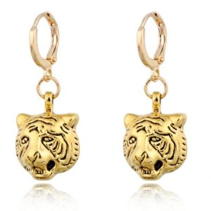 creole earrings, tiger, gold, jewellery
