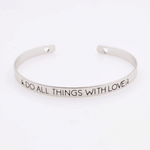 Cuff Armband,Do all things with Love, , zilver, sieraden,tekst