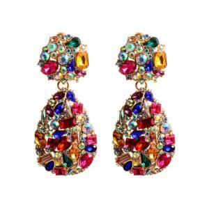 diamanten oorbellen, statement, kleurrijk, regenboog, sieraad, sieraden, dames, jewellery, jewelry, kristallen, zirconia