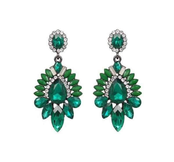 diamanten oorbellen, statement, groot, groen, kristallen, zirkonia, dames, sieraden, accessoires
