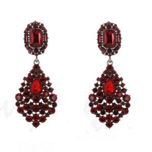 diamanten oorbellen, kristallen, zirconia, dames, sieraden, sieraad, rood