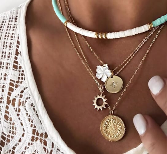 double necklace, gold, white beads, flower,jewellery, trendy, girlfriend