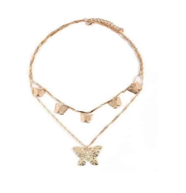 double necklace, gold, jewellery, butterfly