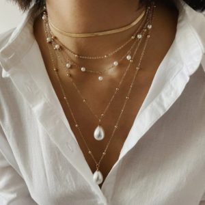 double necklace, pearls, jewellery, gold, gift