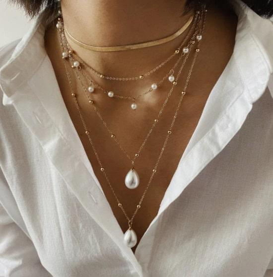dubbele ketting, parels, sieraden, goud, dames, jewellery, jewelry