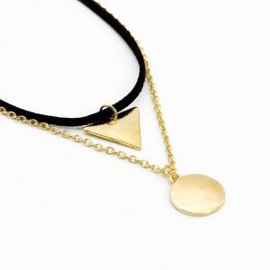 Layered Necklace With Triangle And Gold Disc. Click hear for more layered necklaces.Shop all musthave jewellery by aphrodite.Free worldwide shipping.