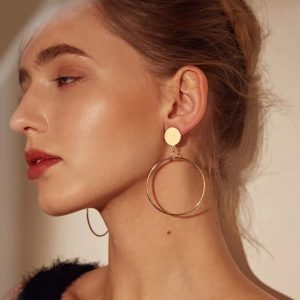 Drop Earrings, Circle, gold, jewellery, fashion