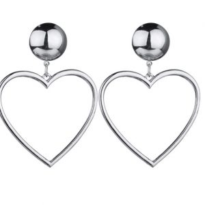 drop earrings, heart, silver, jewellery