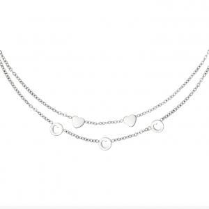 dubbele ketting, layer, laagjes ketting, hartje, stainless steel, roestvrije staal, dames, sieraden, sieraad