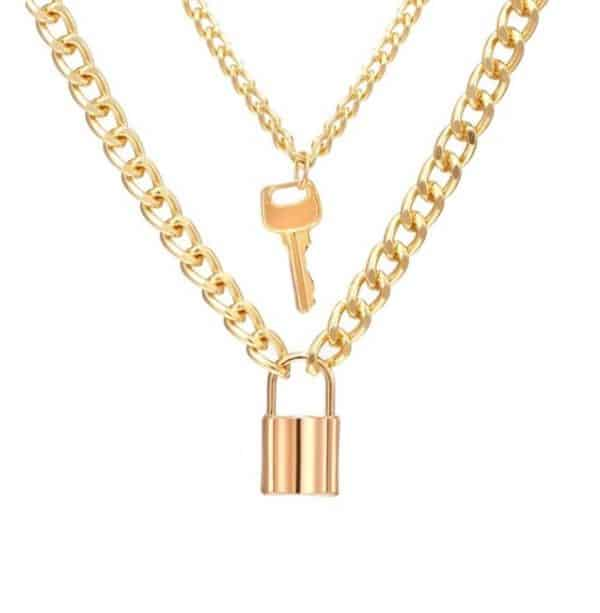 dubbele ketting, laagjes, slot, sleutel, goud, dames, sieraden, jewellery