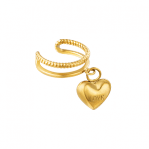 ear cuff, hartje, love, sieraden, dames, accessoires, stainless steel, roestvrij staal