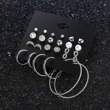 earrings set, 12 pcs, crystal, hoops earrings, stud earrings