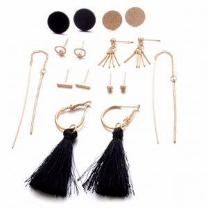 earrings set, 8 pcs, hoops earrings, stud